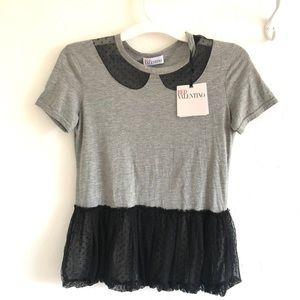 NEW RED VALENTINO TOP WITH LACE DETAILS SIZE XS